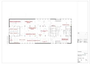Oversyn over møblering av 1. etasje, arkitektteikna.