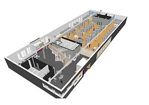Møbleringsplanen for nye Time bibliotek i perspektiv
